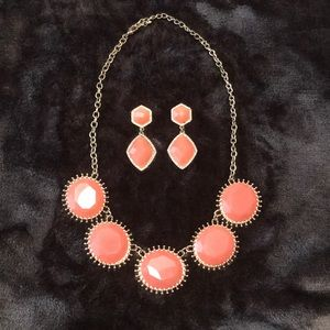 Francesca's gold/peach necklace&earrings [NWOT]